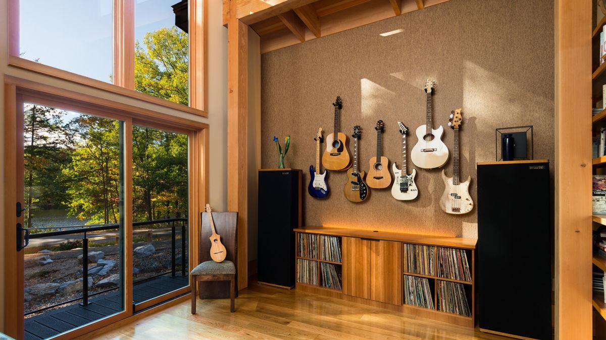 music room timber frame home