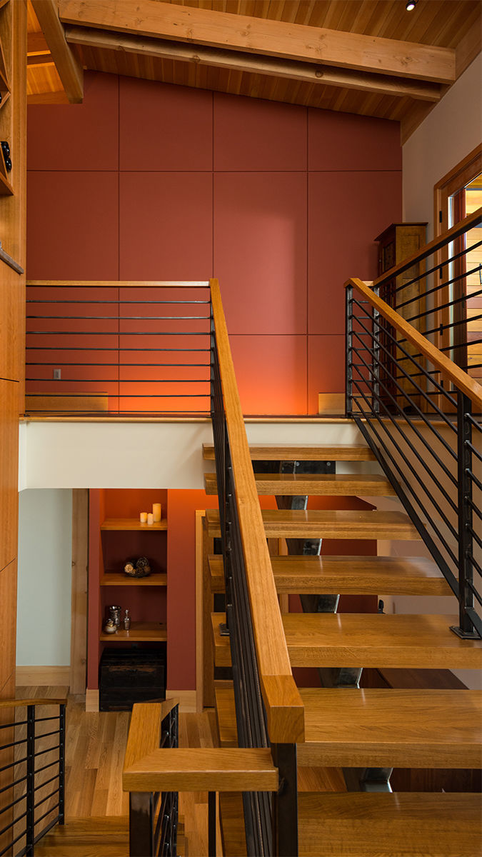 stairway timber frame home