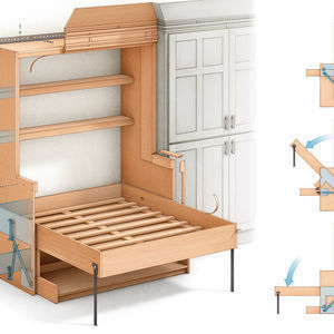 Built-in Cabinet Effortlessly Converts from Desk to Bed
