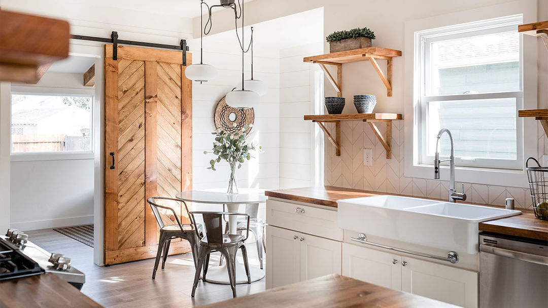 Custom Kitchen: Wood-on-White