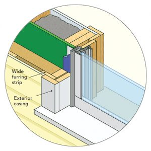 Recessed windows with traditional casing