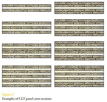 Examples of CLT panel cross-sections