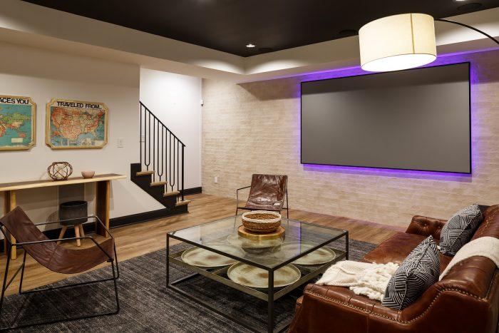 A Practical and Inviting Basement Media Room