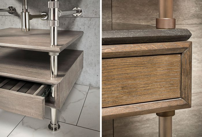 modular consoles and integrated sinks from Stone Forest details