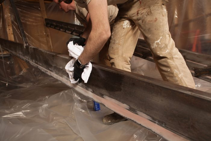 arranging stair stringers for painting
