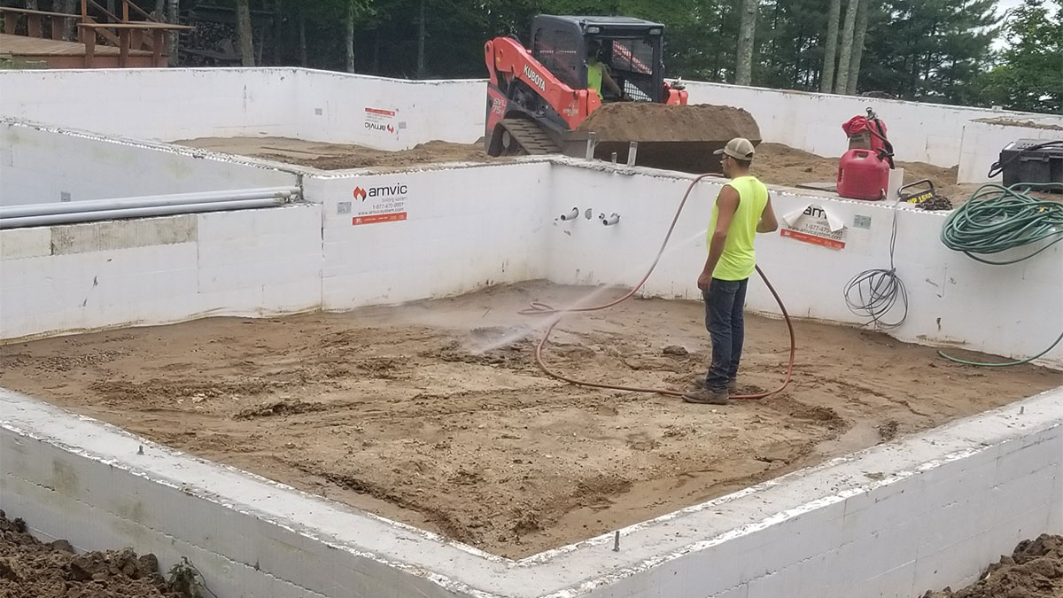 Person installing a foundation