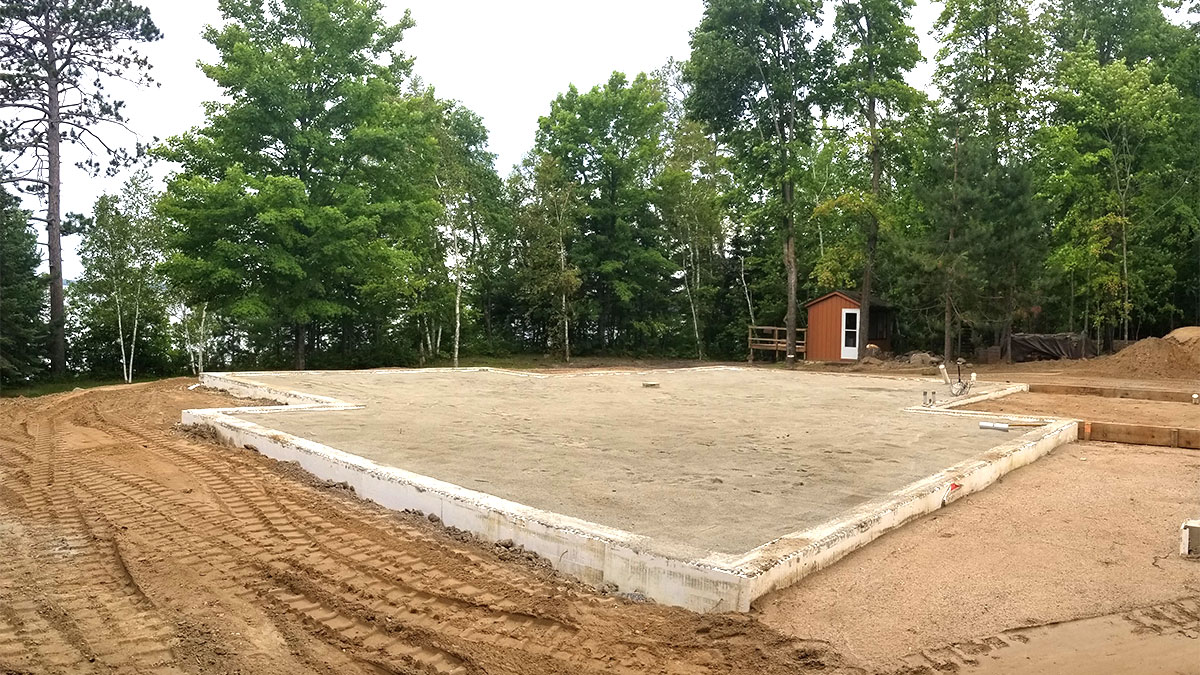 Completed foundation of a house