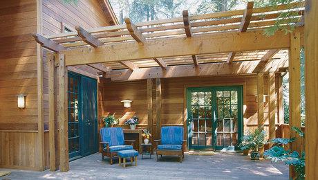 deck design considerations, including a deck trellis