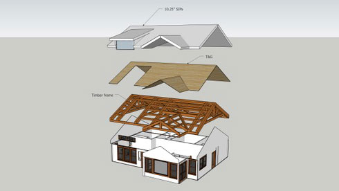 we revised the plan again and went with the full timber frame