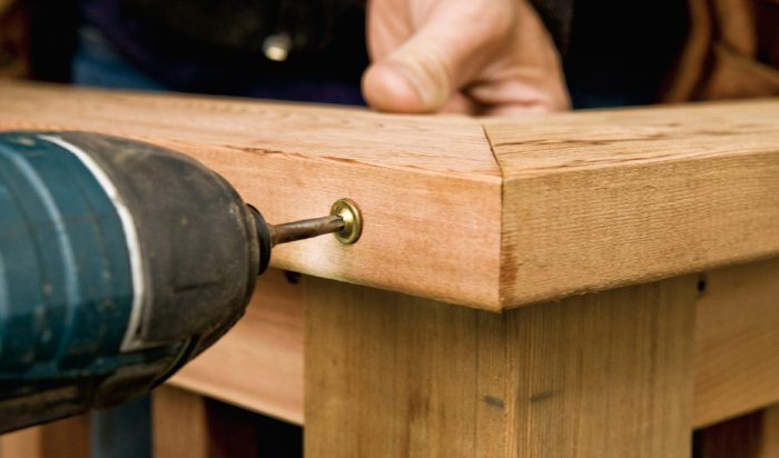 6. Secure the miter with a fastener driven across the joint. If you like, you can also use all-weather glue in the joint.