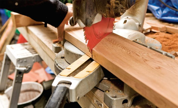 3. Cut the cap at a 45° miter using the overall cap length and measuring from the long point.