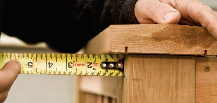 1. Measure the outside overhang to begin the miter calculation.