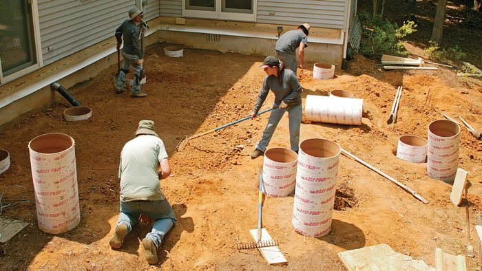 how to build footings for decks