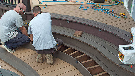 build stairs for a curved deck