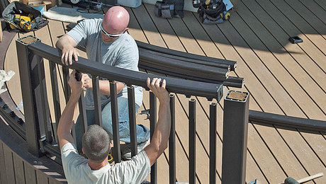 how to install a railing on a curved deck