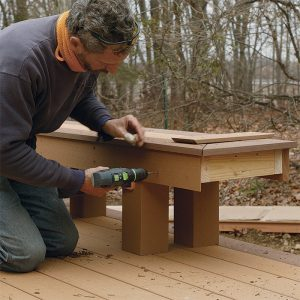 Trim the edges of the bench on a deck