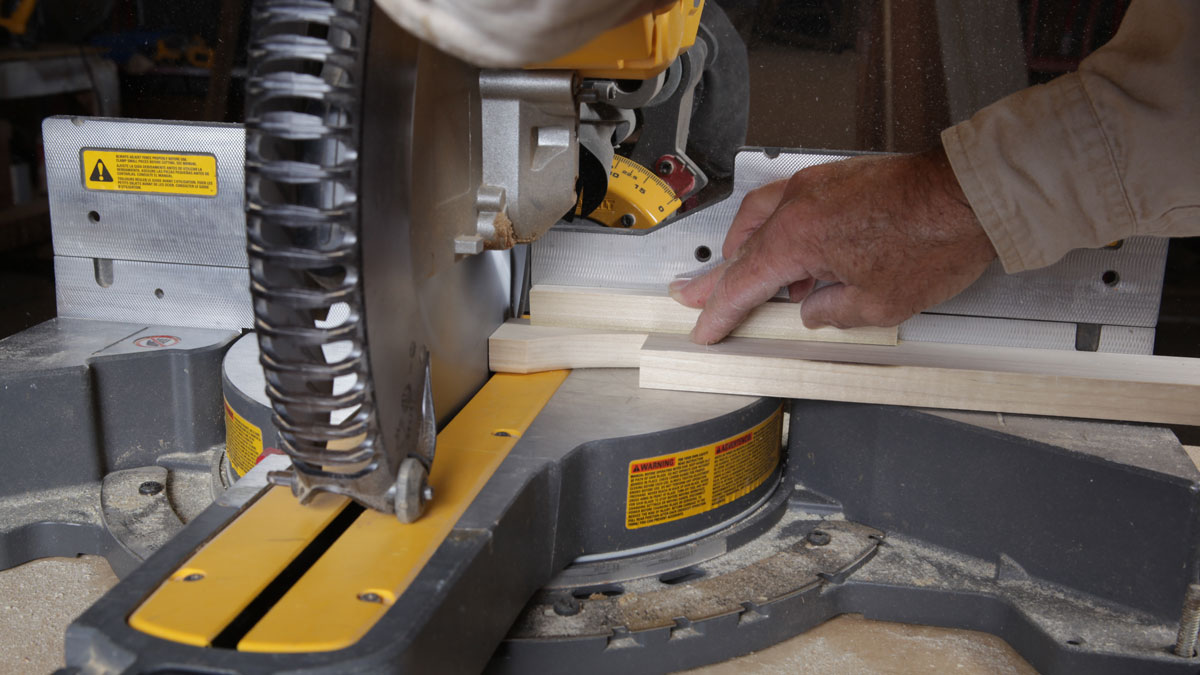 cutting the corbel parts on a miter saw