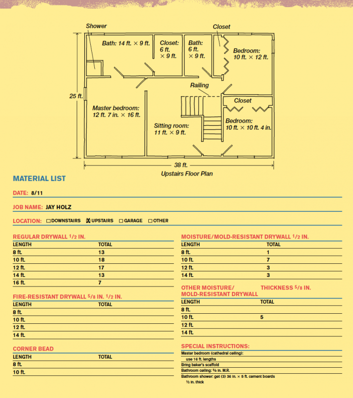 Sample Drywall House Estimate