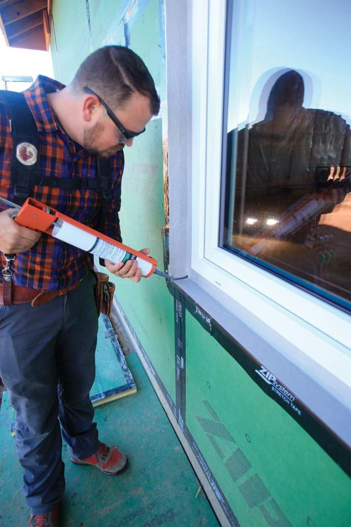 seal the corners with a bead of fluid-applied flashing