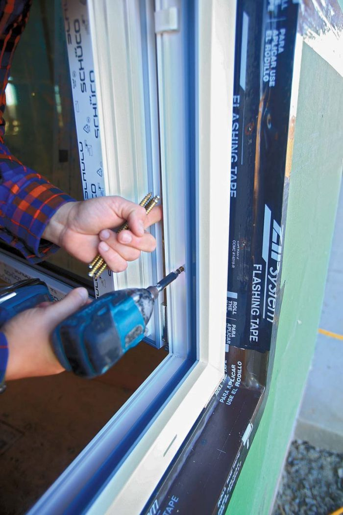 """fully-threaded """"turbo screws"""" provided by the window manufacturer lock the frame in place"""