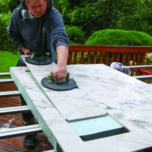 use suction cups to free big tile cutout