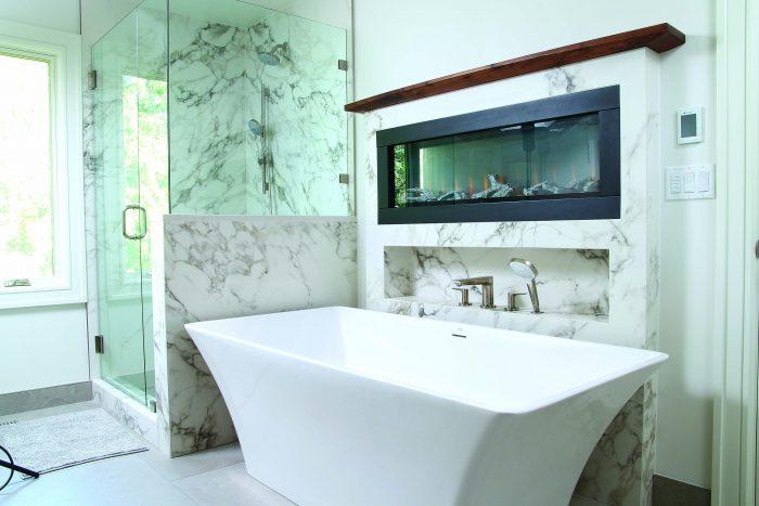 big tiles and porcelain tub