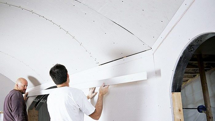 install curved drywall