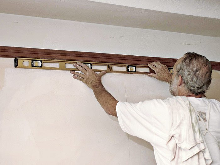 check the trim for plumb and level