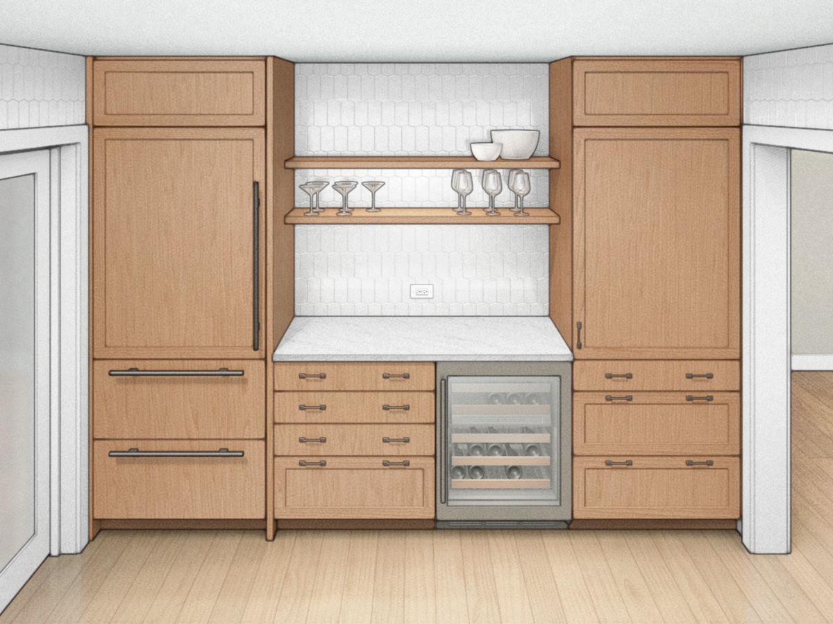 counter-depth fridge and pantry