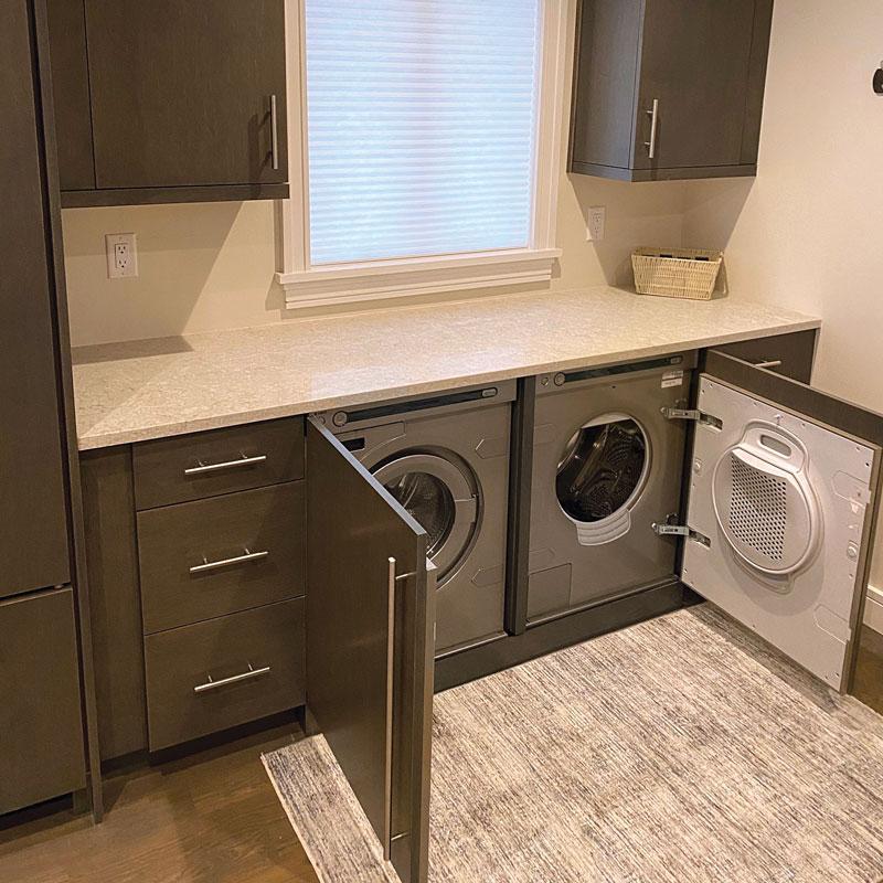 open cabinets reveal the hidden appliances