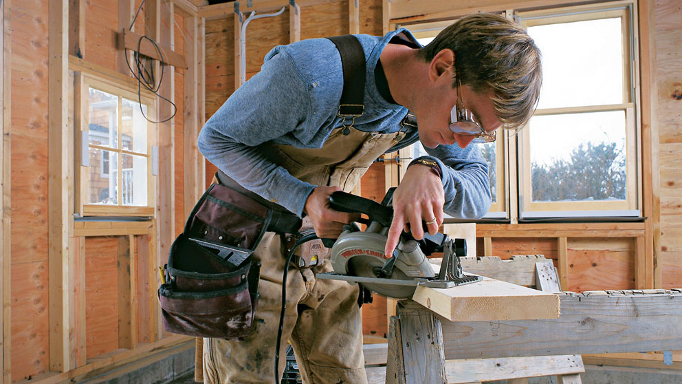 To keep the blade guard from hanging up during angle cuts, hold the guard up with one hand while squeezing the trigger and pushing the saw with the other.
