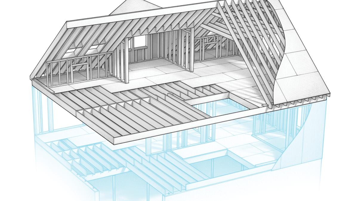 Rafters Second-floor support beam Roof sheathing Ceiling joist Collar tie Ridge
