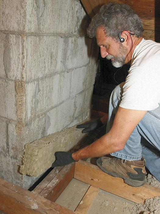 Fireblocking around masonry chimneys