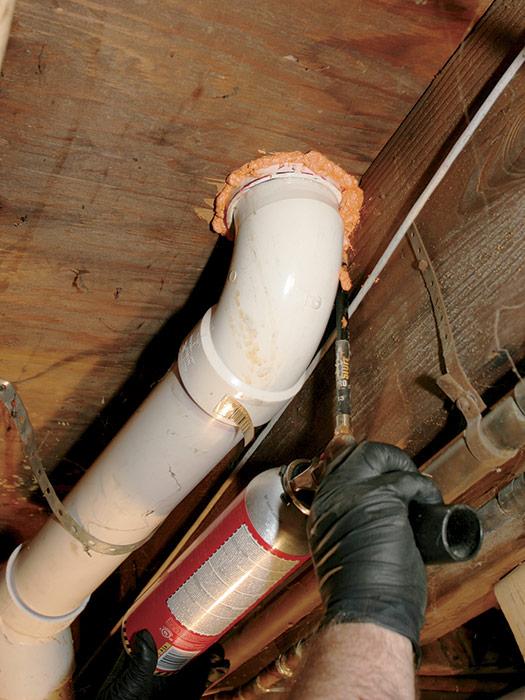 Fireblocking plumbing-trap holes