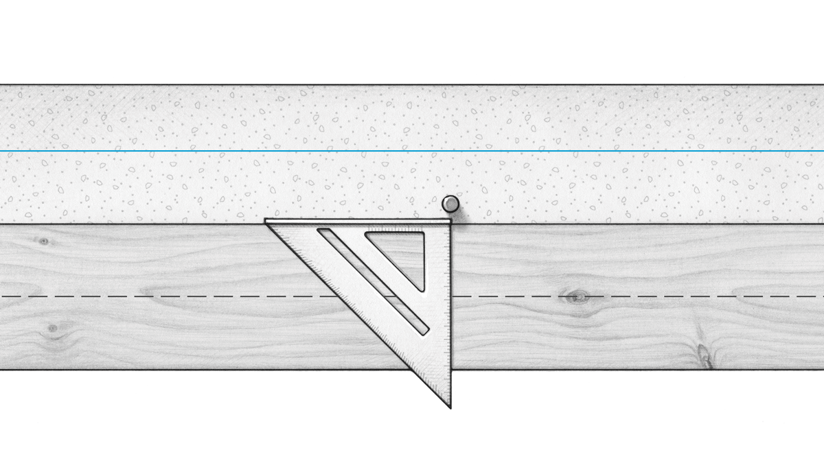 Marking Bolt Locations 1. Measure from snapped line to center of bolt (A). 2. Measure same distance from edge of sill stock. 3. Align rafter square with center of bolt, and mark where edge of square intersects with measurement for center of bolt hole. Foundation Snapped line Bolt A A Triangular square Center point of bolt hole Sill stock