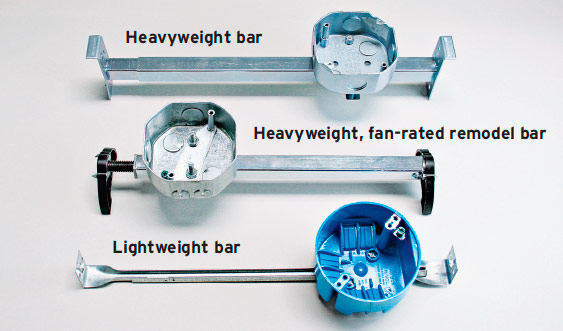 Adjustable bar hangers.