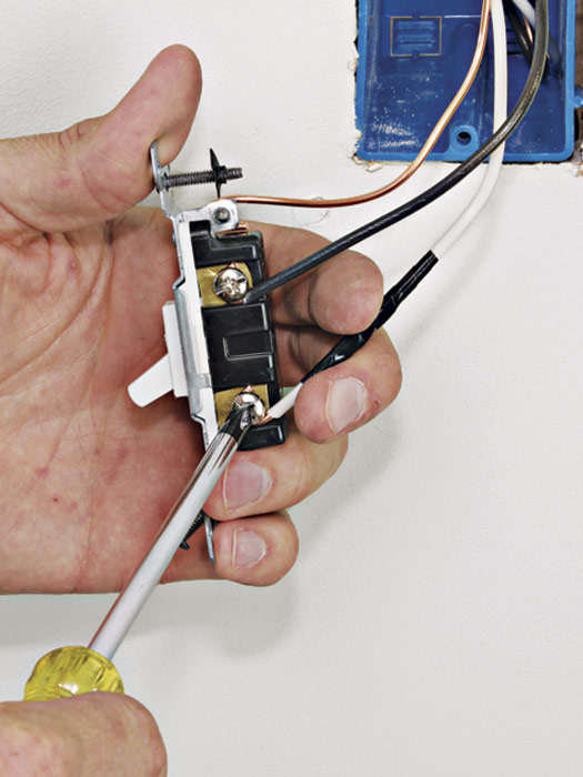 Connect the hot lead wire to the fixture last.