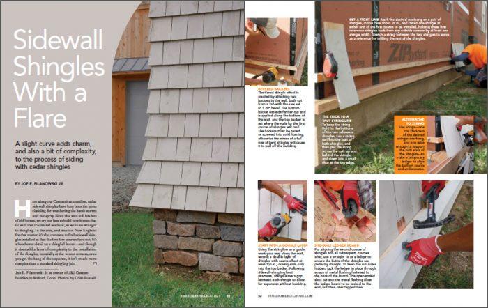 Flared shingle magazine layout