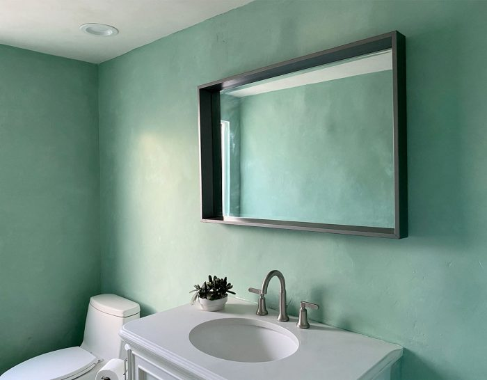 bathroom with green lime painted walls