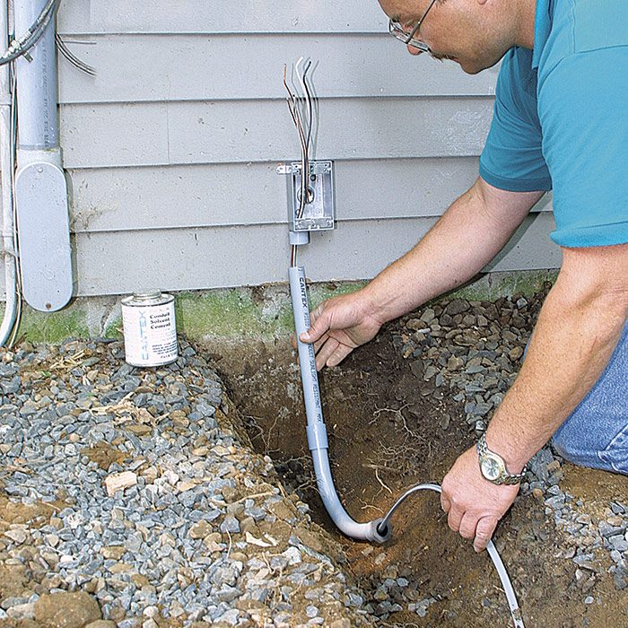 2 A PVC stub protects UF cable as it emerges from the ground.