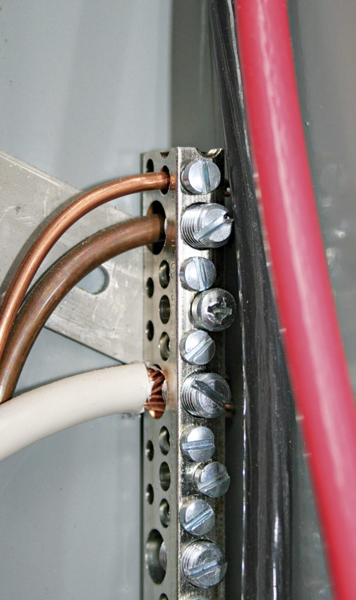 Ground and neutral wires connected in service panel.