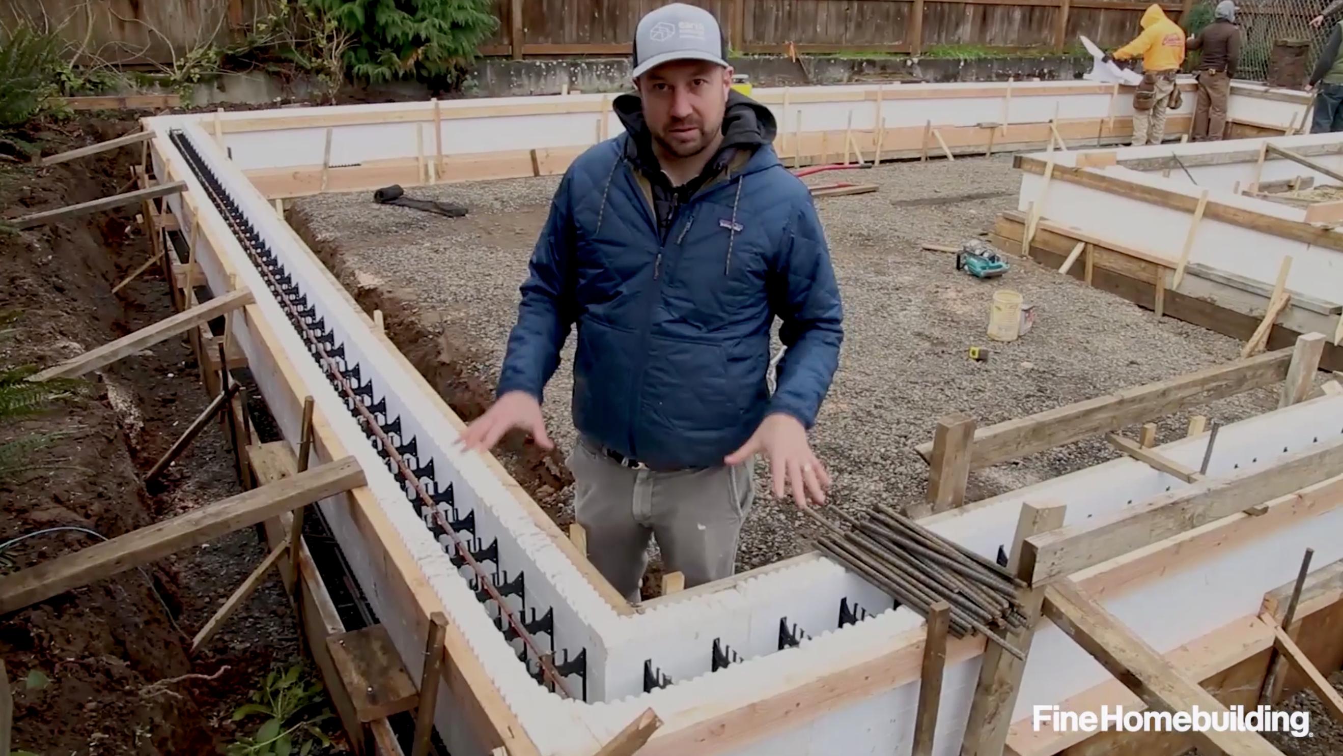 carpenter installing ICF foundation forms
