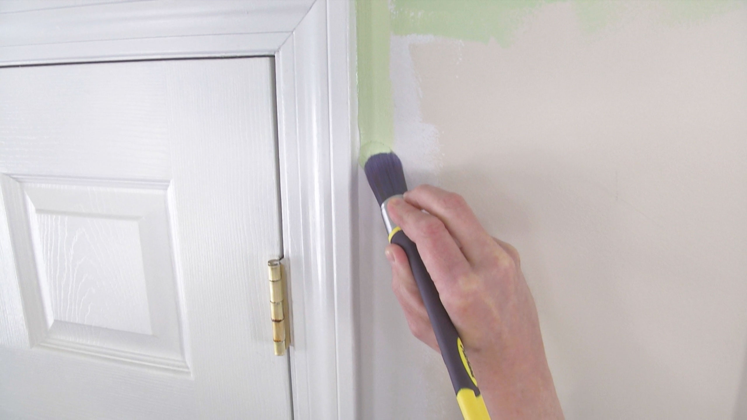 Paint brush with green paint on wall