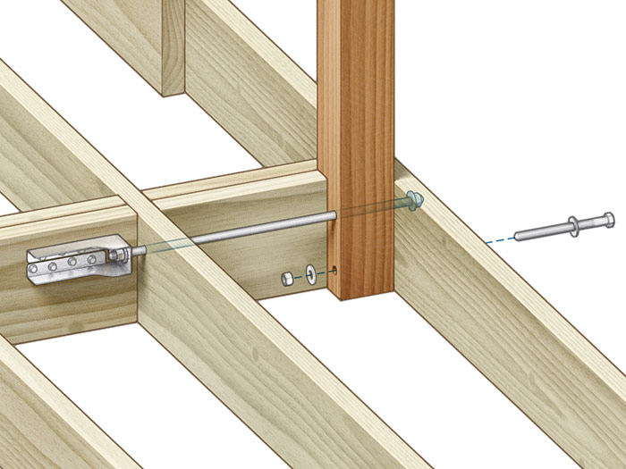 Tension ties: Using two sets of double-2x blocking to tie back to the second inboard joist bay allows use of a single tension tie for a solid connection.