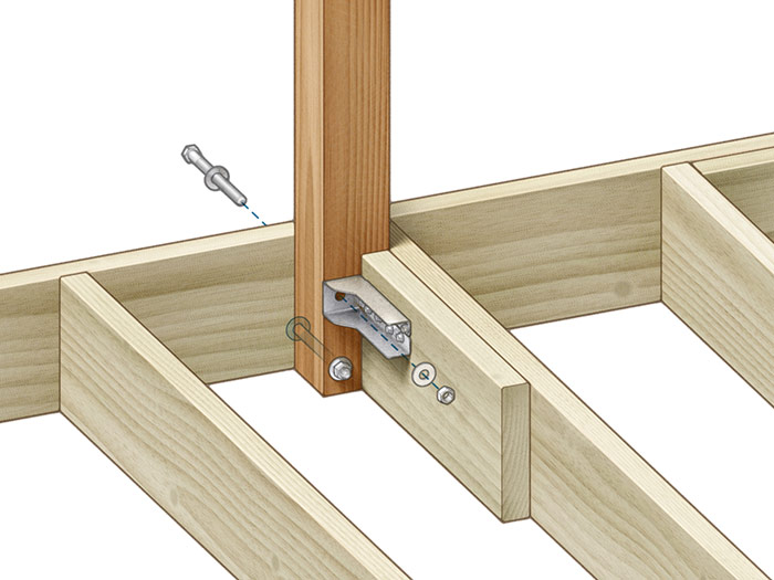 tension ties Block behind the post to the adjacent joist, and secure the upper bolt to the blocking with a tension tie.