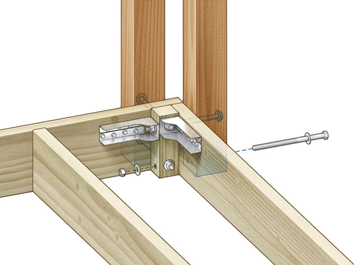 Blocking interference: A square rip of 2x allows the tension ties to be installed closer together up high to resist outward thrust.