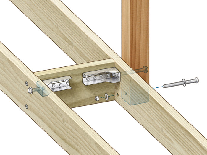 Tie back: Blocking and tension ties secure the post to the end joist and transfer the load to the first inboard joist and the decking.