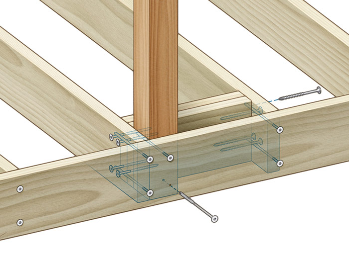 Screws: Double 2x blocking ties the joist to its neighbor, sandwiches the post to the rim, and provides face-grain screwing for optimal hold.