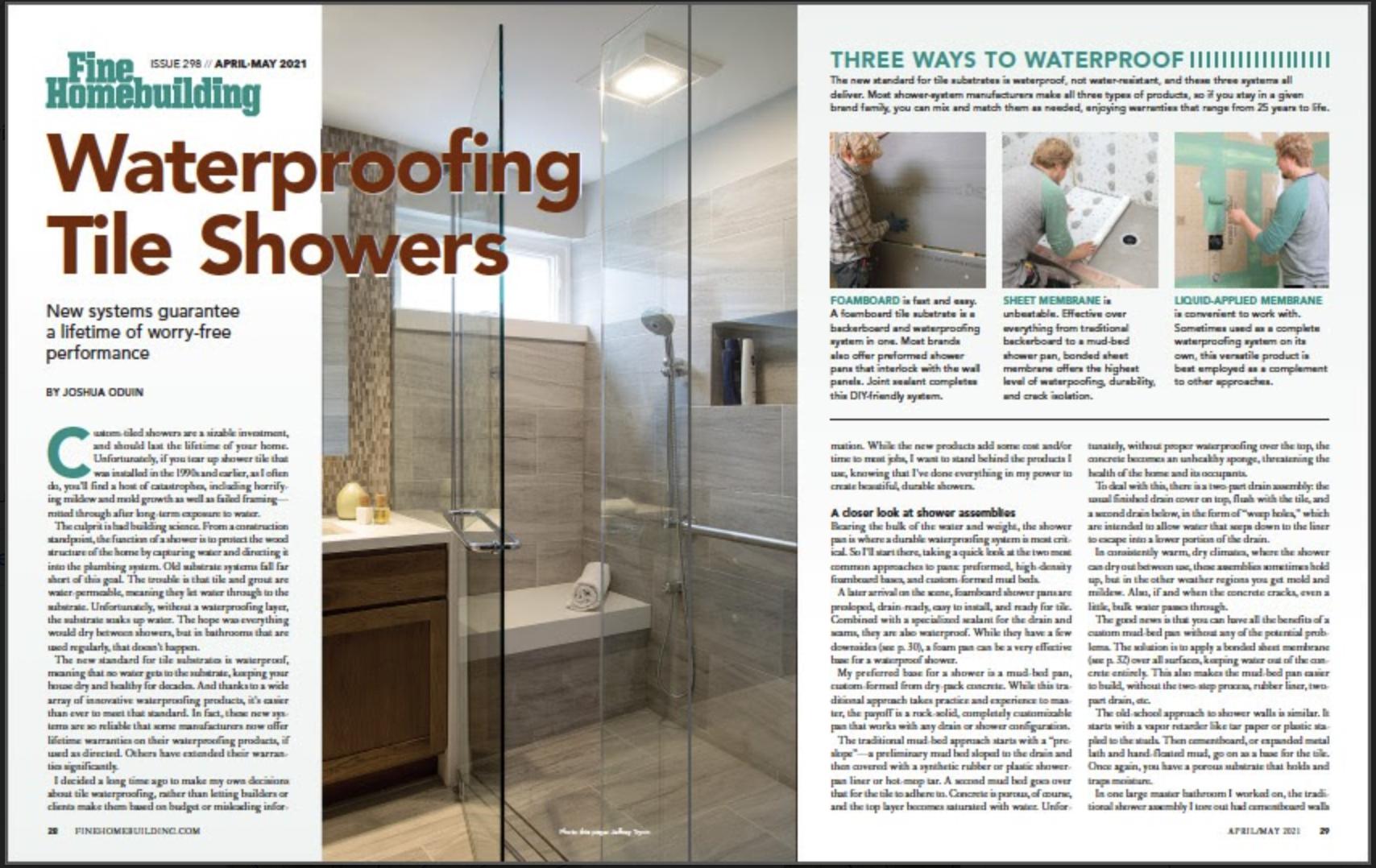 Waterproofing Tile Showers