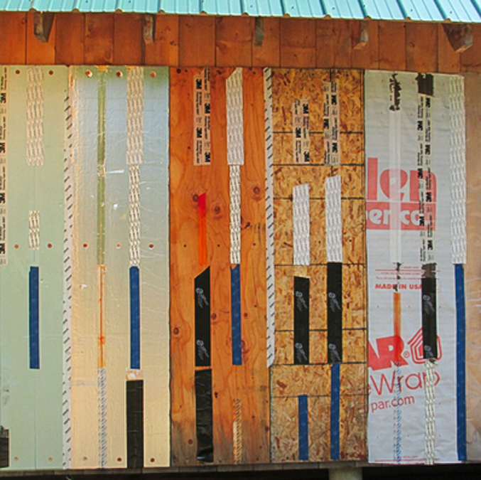 Martin Holladay used the side of his wood shed to test a variety of flashing tapes. Photo courtesy Martin Holladay.